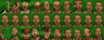 Ben's facial movements exaggerated way beyond normal