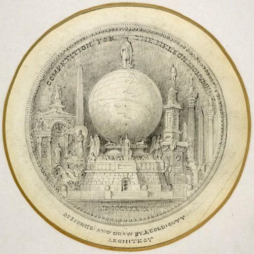 Проект для конкурса на лучший памятник Нельсону, Трафальгарская площадь. Победи в нем Джон Голдикатт в 1841 году, вместо Колонны Нельсона мы бы имели Глобус Нельсона.