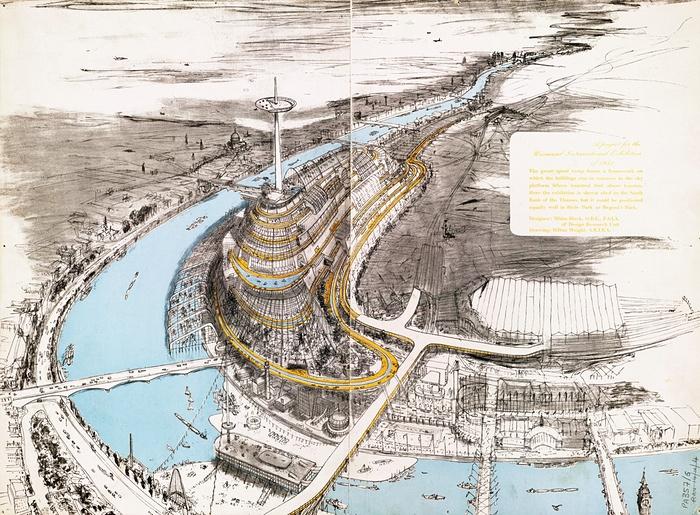 Нереализованный проект для района Саут-Банк: гигантский спиральный съезд, одно из предложений для Британского фестивального комплекса. Конкурс выиграл проект Королевского фестивального зала (Royal Festival Hall).