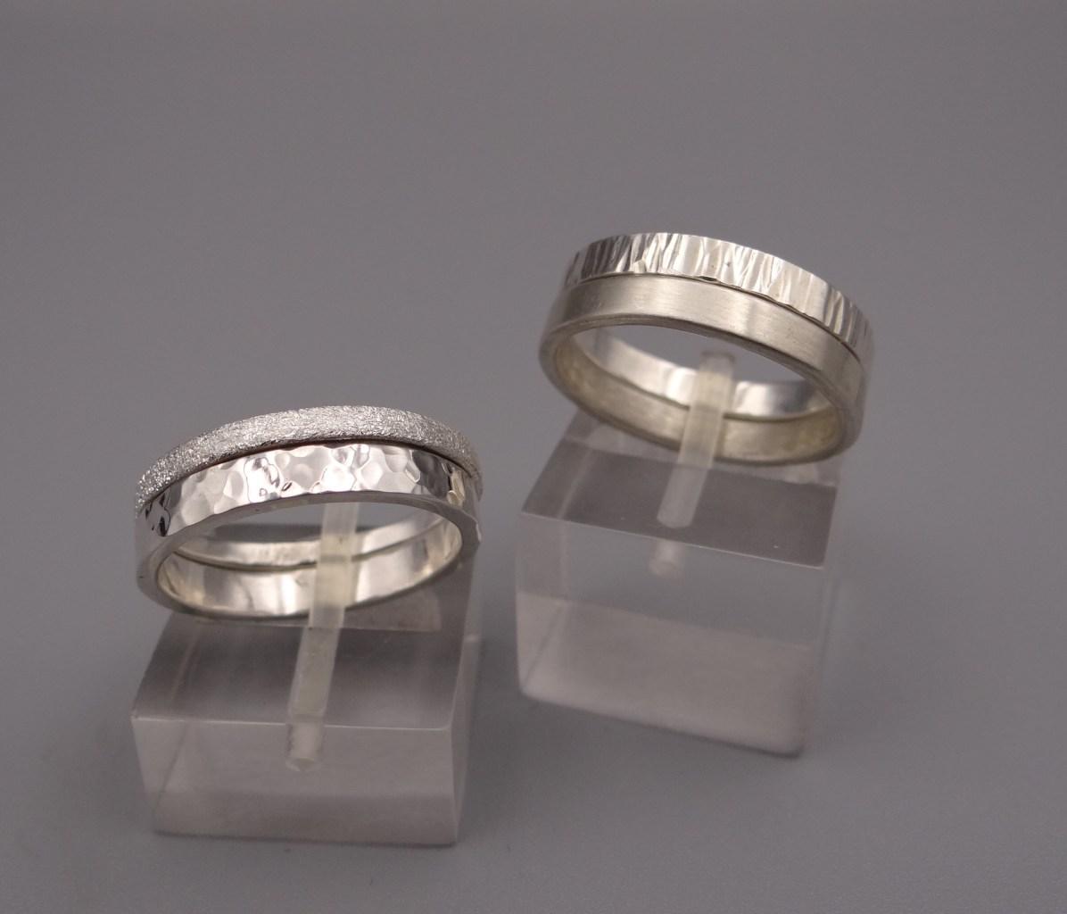 Arto Edelsmeden- Zilveren aanschuifringen breedte 3mm en 2mm diverse afwerkingen