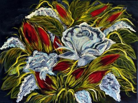 Blue Rose (Acrylic on canvas, 30Χ40cm )