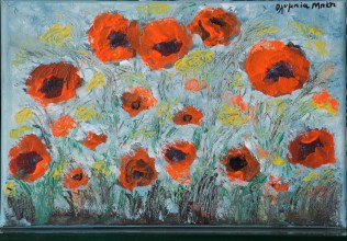 Poppies at Rustling Wind (Acrylic on canvas, 20X30 cm)