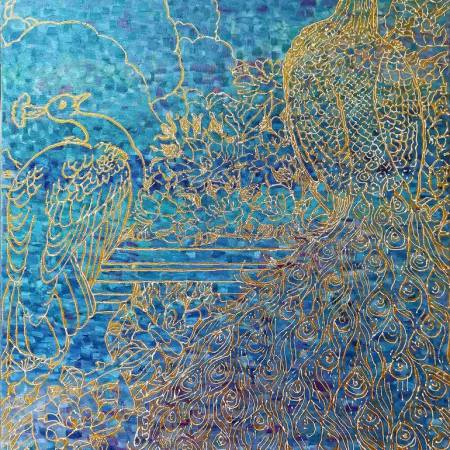 Original Abstract Painting by Ihor Krupichko | Abstract Art on Canvas | Peacocks in paradise