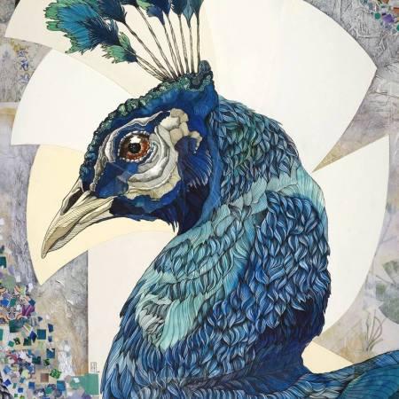 Original Animal Painting by Irene Meniconi | Figurative Art on Cardboard | Peacock 02