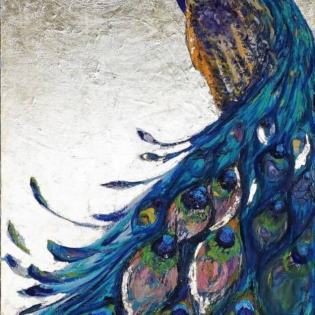 Original Animal Painting by Kristina Gav | Expressionism Art on Canvas | peacock art, gold painting