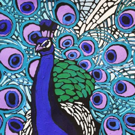 Original Animal Painting by Kseniya Pridanova   Art Deco Art on Cardboard   Luxury of enjoyment