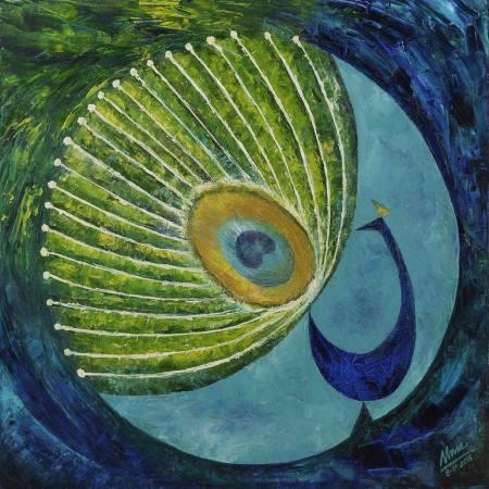 Original Animal Painting by Uma Ramakrishnan | Fine Art Art on Canvas | Peacock