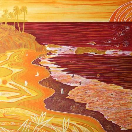 Original Landscape Painting by Nenad Stojanovic | Conceptual Art on Canvas | Laguna Beach - Red