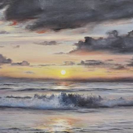 Original Seascape Painting by Aflatun Israilov | Realism Art on Canvas | EVENING AT THE OCEAN - realistic seascape oil painting