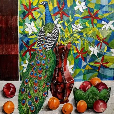 Original Still Life Painting by Sabrina J Squires   Abstract Art on Wood   Peacock Still Life