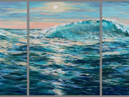 Original Water Painting by Linda Olsen | Expressionism Art on Canvas | Late Afternoon Swim