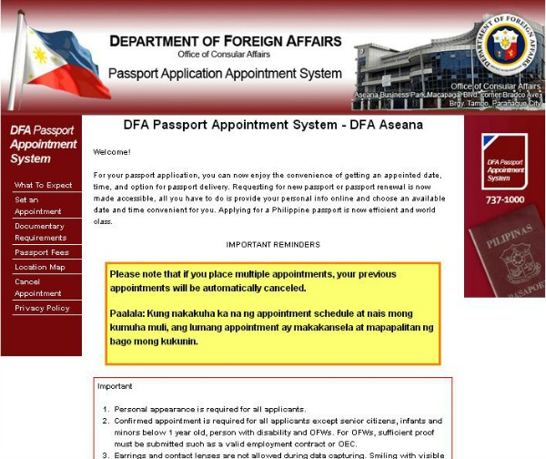DFA Passport Appointment Homepage rs