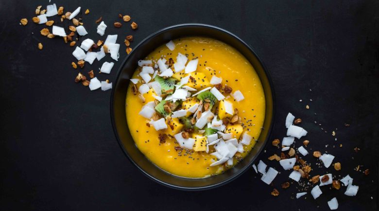 fresh mango and coconut smoothie bowl