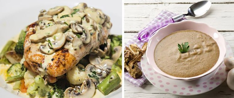 Mushroom soup and chicken