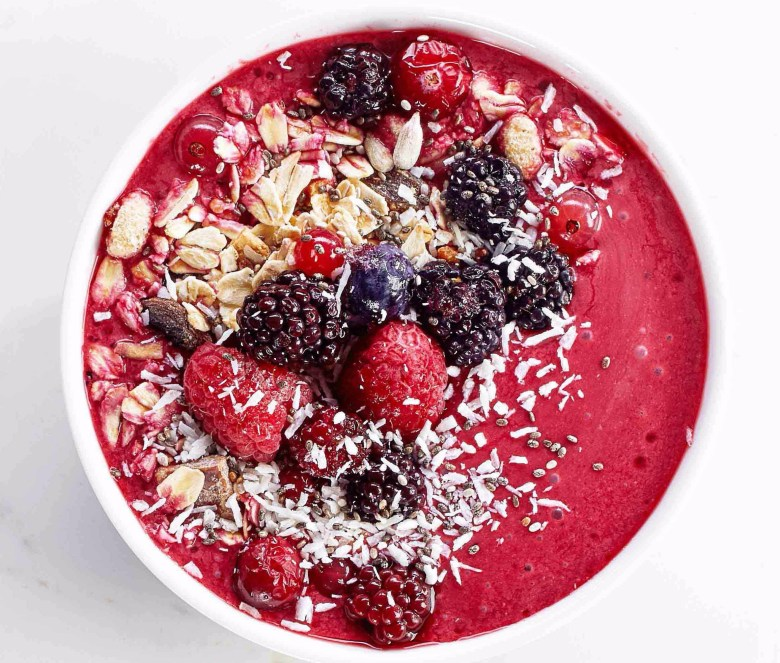 Cherry kale smoothie bowl