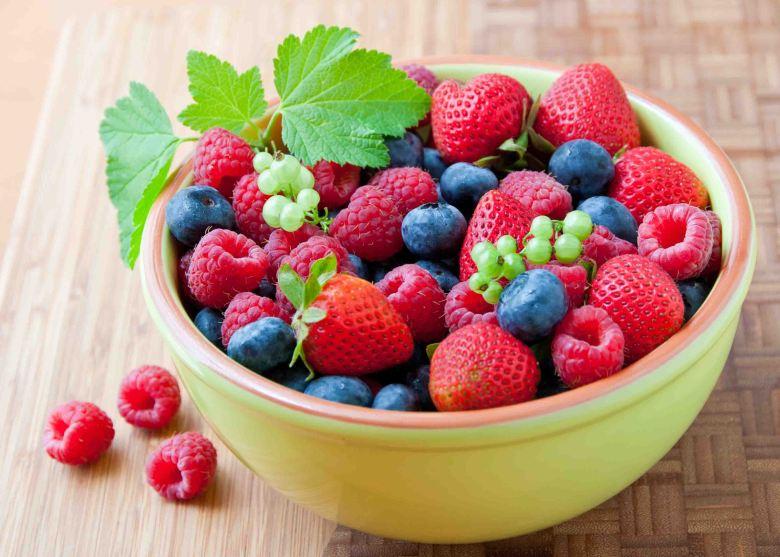Strawberries, blueberries, raspberries
