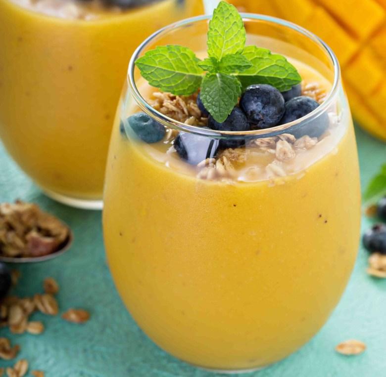 Mango smoothie in glasses