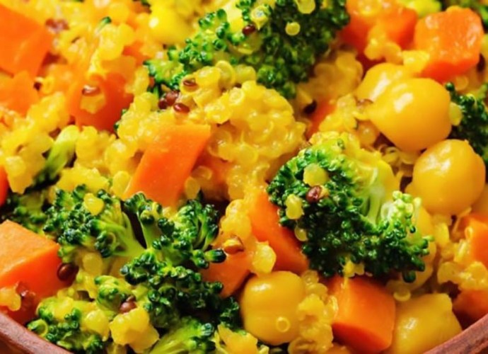 vegan and gluten-free quinoa broccoli carrot curry and mustard recipe
