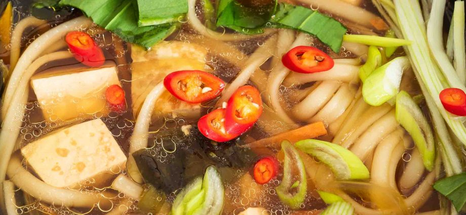 Gluten-free and vegan Thai tofu and vegetable noodle soup