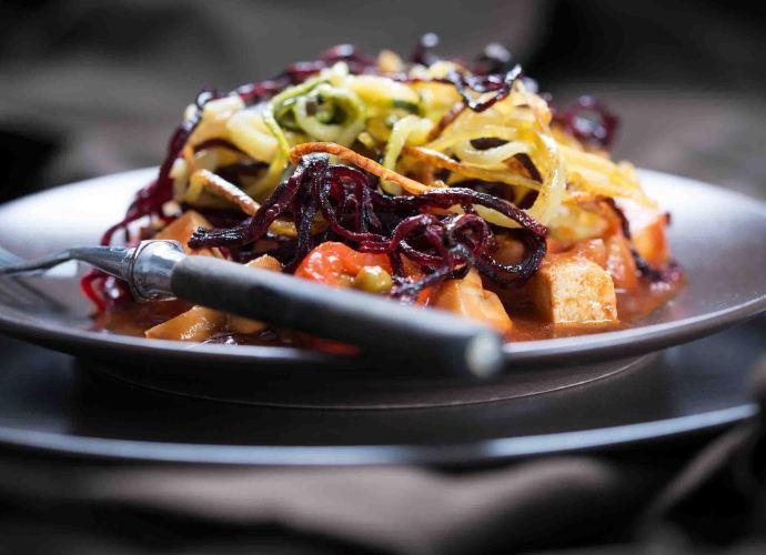 Tofu zoodle and boodle spaghetti