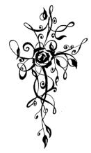 Small Feminine Rose Cross - Black Only