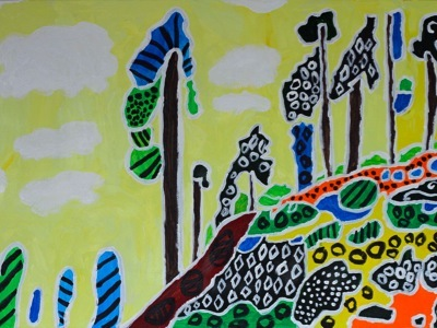 Colorful imaginative painting of a forest yellow background, acrylic on canvas, J.A. Tan