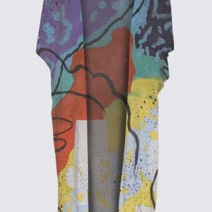 Colorful Red Blue Green Yellow abstract on a kimono wrap