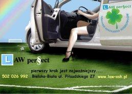 Plakat Law perfect Szkoła nauki jazdy w Bielsku-Białej