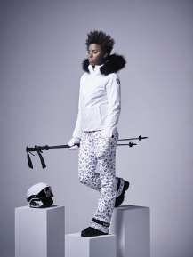 Amelia ski jacket - white with internal leopard print details Lia pants - wild mittens - Leopard fulcrum helmet