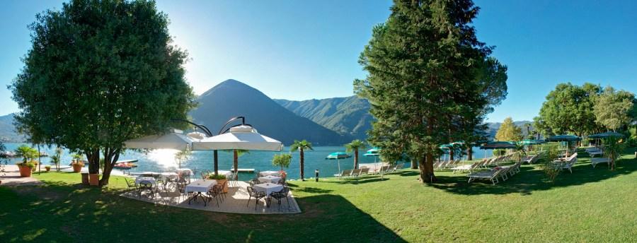 Das Parco San Marco verfügt über einen der grössten Privatstrande am Lago di Lugano mit den vielfältigsten Wassersportmöglichkeiten.