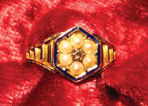 3 Member Family Mourning Ring, Blue Enamel