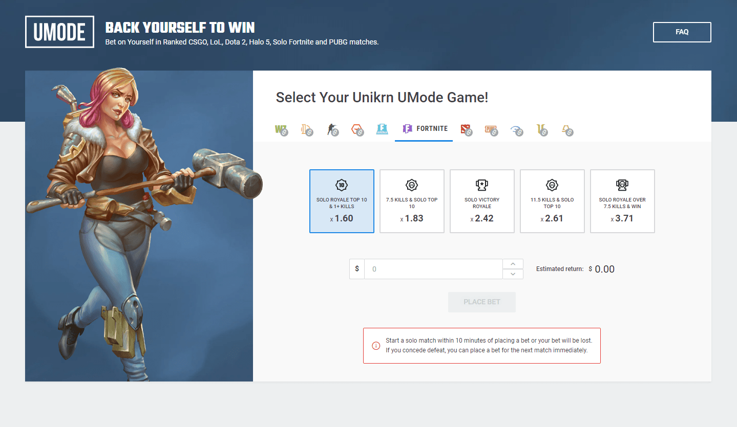 Unikrn UMode Review: How it works, and how I used it to turn $0 into $50 in an hour