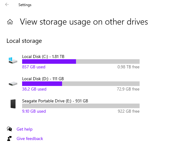 Windows 10 view storage usage on other drives