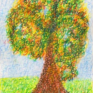 And You Shall Love...Autumn Seasons of the Tree of Life. Strokes are the original Hebrew letters of Deuteronomy 6:5-9. Ungraven Image