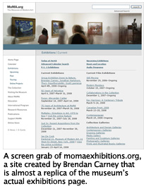 Fake MoMA site created by Brendan Carney