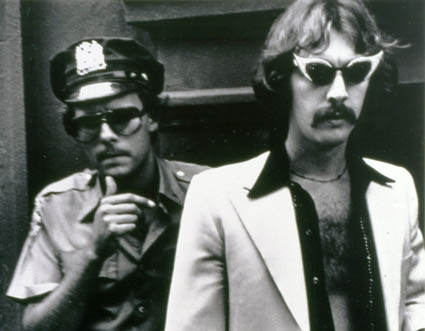 Joey Skaggs (right) in his Celebrity Sperm Bank hoax, 1976