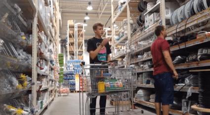 Home Depot bubble prank