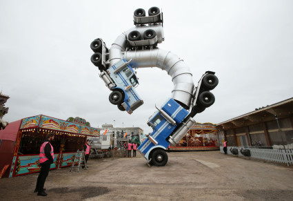 Banksy's tanker truck disaster at Dismaland. Yui Mok / PA WIRE