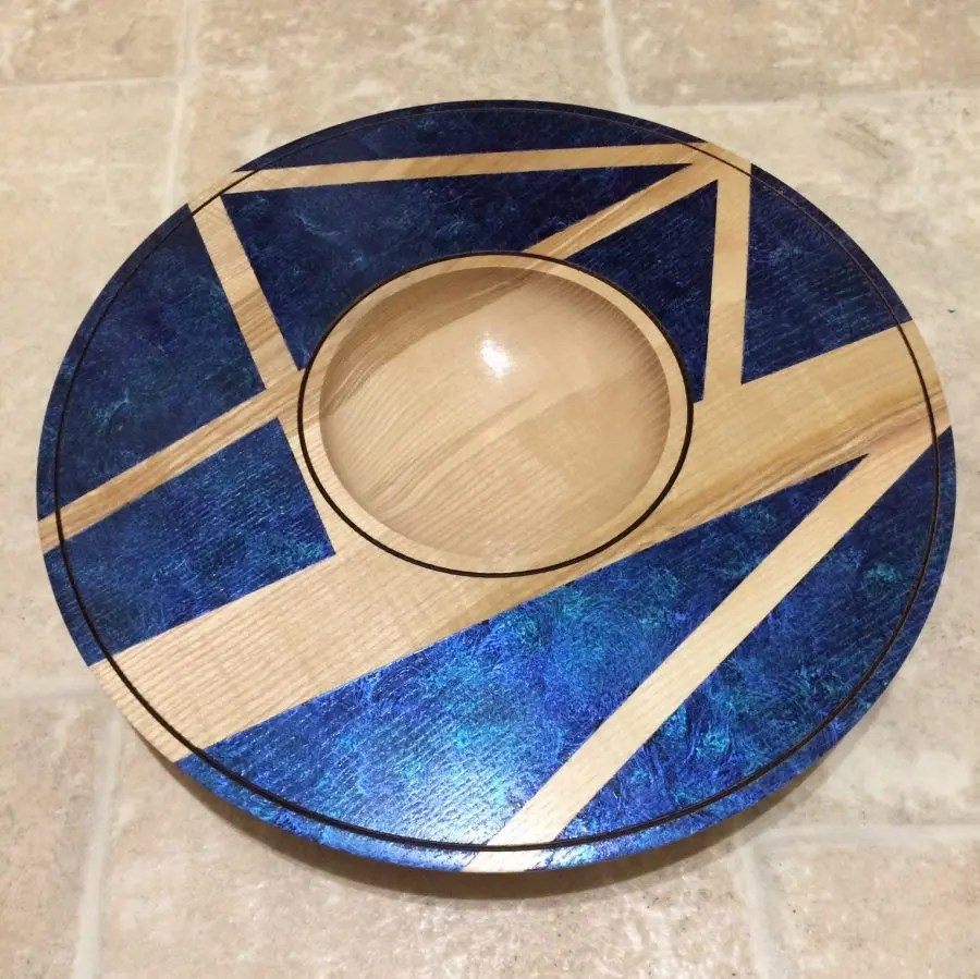 Decorative ash platter with center bowl