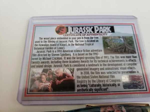 Certificate of Authenticity for the wood used in this Jurassic Park pen