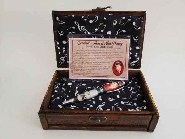Elvis Gift Pen with Graceland Wood Cast in Acrylic with Display Box and Certificate of Authenticity