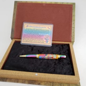 Pen display box for Woodstock Music Festival gift idea - unique pen made with wood from the 1969 Woodstock stage wood!