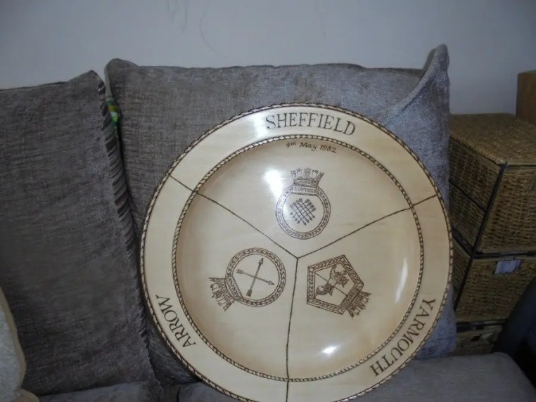 Woodturned tribute platter for HMS Scheffield, HMS Arrow, and HMS Yarmouth.
