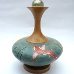 Koi Pond pyrography and inking on a wood turned vase
