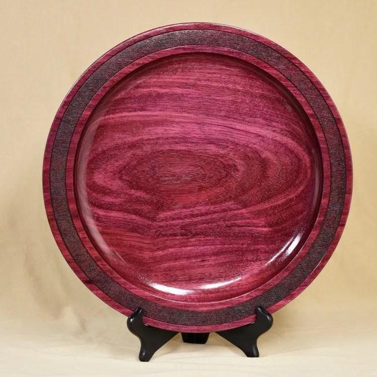 Wood turned purpleheart wood platter.