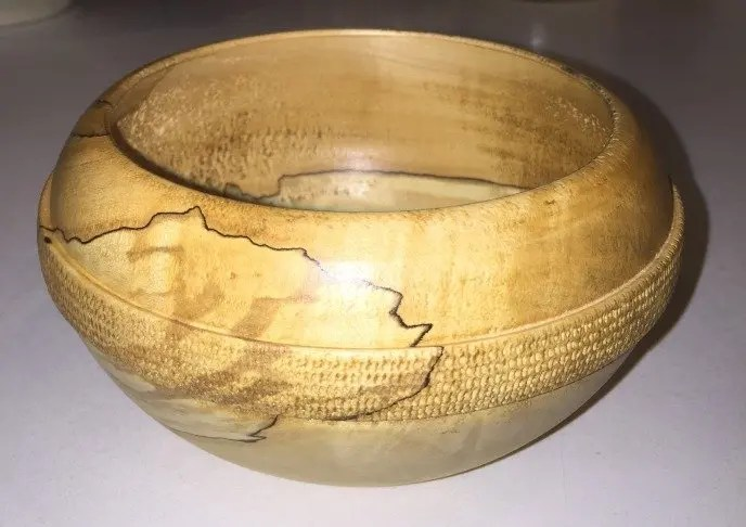 Spalted maple wood turned bowl