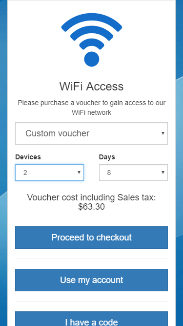 Configurable vouchers with dynamic pricing, user can select number of devices and duration