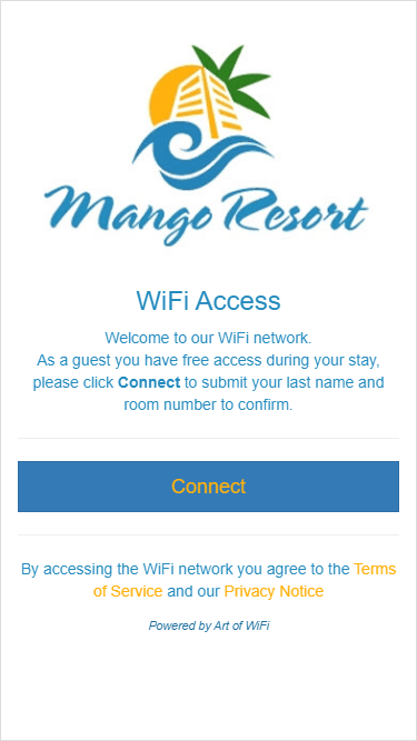 Captive portal with PMS integration, main splash page as viewed on an iPhone 6