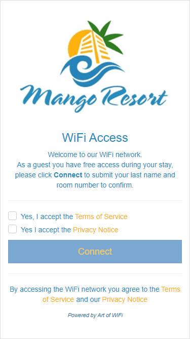 Captive portal with PMS integration, main splash page with required acceptance of the Terms of Service and Privacy Notice, as viewed on an iPhone 6