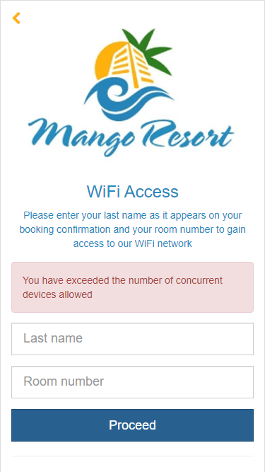 Hotel guest has exceeded the device allowance